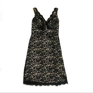 WHBM black lace scalloped dress bow belt back